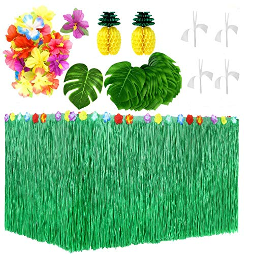 Litviz 55 Pieces Hawaiian Tropical Party Decorations with 9ft Hawaiian Table Skirt, Palm Leaves, Luau Flowers, Tissue Pineapple for Island Theme Party Decoration (Green)