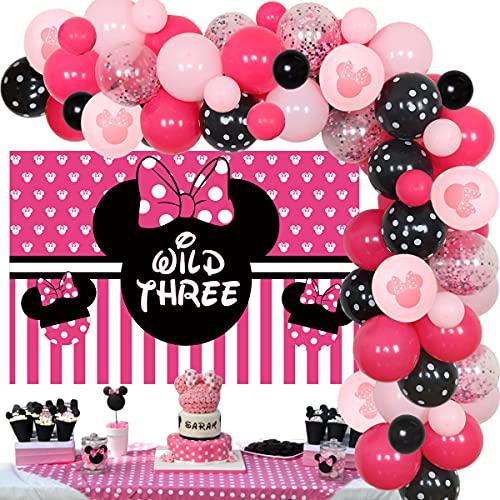 Minnie Theme 3er cumpleaños decoraciones globo guirnalda arco kit salvaje tres confeti globos ratón 3 años niñas fiesta de cumpleaños suministros