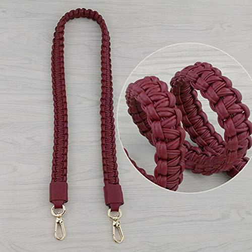 MoreChioce Damen Taschengurt Leder,105cm Schultergurt Schulterriemen Weben Tragegurt DIY Zubehör für Handtaschen Tragetaschen,Wein Rot