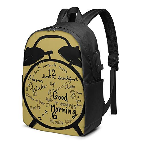 Laptop Rucksack Business Rucksack für 17 Zoll Laptop, Wecker klingelt Begrüßungsnachrichten Schulrucksack Mit USB Port für Arbeit Wandern Reisen Camping, für Herren Damen