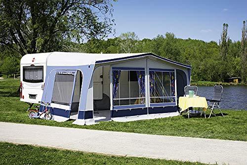 dwt Vorzelt Fiesta 300 tief blau Reisezelt Camping Wohnwagenvorzelt Ganzzelt Caravan leicht 6 mögliche Eingänge, Größenauswahl:Gr. 14 Umlaufmaß 941-970 cm