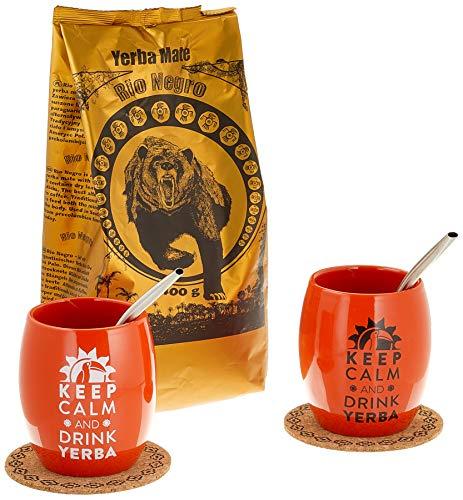Rio Negro Yerba Mate für zwei eingestellt Keramikschale Perfekt für ein Geschenk Starker argentinischer Stimulation, 950 g