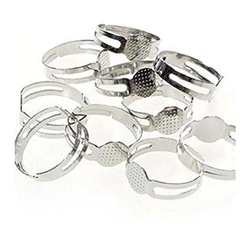Supporti per anelli regolabili per la creazione di gioielli in pasta fimo, confezione da 10, base microforata da 8