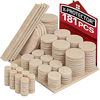 X-PROTECTOR Premium ULTRA LARGE Pack Furniture Pads 181 piece! Felt Pads Furniture Feet ALL SIZES - Your Best Wood Floor Protectors. Protect Your Hardwood & Laminate Flooring with 100% Satisfaction!
