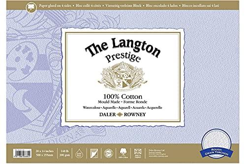 Daler-Rowney Langton Prestige 20inch x 14inch bloque acuarela, superficie rugosa