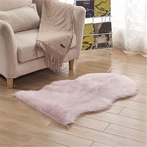 WBDYMX kunstbont tapijt, moderne pool, wasbaar, onderhoudsarm, zacht gevoel, goede elasticiteit (roze) 60 * 90CM