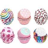 INHEMI Caissettes Cupcakes Papier ,600 Pièces Moules à Muffin Cupcake Moules,Arc en Ciel Doublures Moules à Gâteaux, 6 Styles