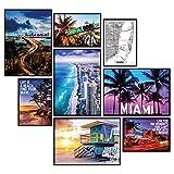 GREAT ART® Stimmungs-Poster Set Miami Beach | 8 Stilvolle