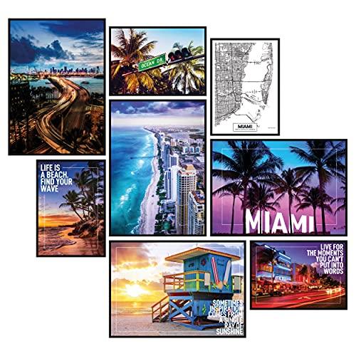 GREAT ART® Stimmungs-Poster Set Miami Beach | 8 Stilvolle Moderne Wandbilder Collage Deko | 4X Din A2 und 4X Din A3 | Ocean Drive Strand Palmen Karte Skyline Florida | ohne...