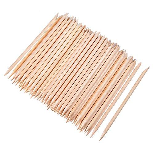 100 Piezas de Palos de Madera Naranja Palo de Cutícula de Uña para Levantadores Manicura Arte Pedicura, 4,3 Pulgadas