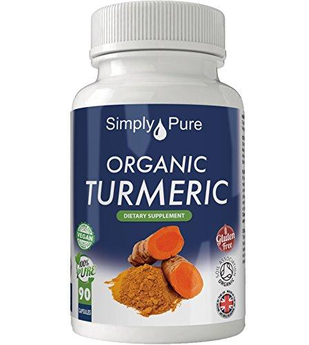Simply Pure Organic Turmeric Capsules x 90, 600mg, 100% Natural Soil Association Certified, Gluten Free, GM Free and Vegan.
