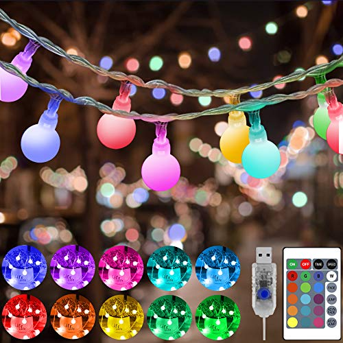 Heceltt 100 LED Globe String Lights 33ft 16 Color Changing USB Powered Fairy Lights with Remote Indoor Outdoor Decorative Lights for Bedroom Christmas Garden Wedding Party Holiday Tree Decorations