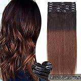 Elailite Extension Clip Capelli Veri 8 Ciocche Voluminose Shatush Nero/Marrone Cioccolato - Double Weft Remy Human Hair Naturali Fasce Full Head 40cm (130gr)
