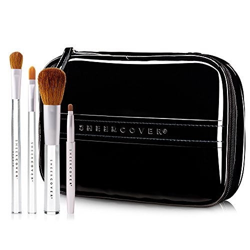 Sheer Cover Studio  Ultimate Brush Kit  Foundation Brush  Lip Brush  Concealer Brush  Contour Brush  with FREE Case  5 Pieces