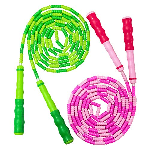 YongnKids Jump Rope for Kids Adults - Adjustable Soft Beaded Skipping Rope for Men Women Kids Fitness,Keeping Fit,Training,Workout,Weight Loss,2 Pack 9 Feet (Pink+Green)