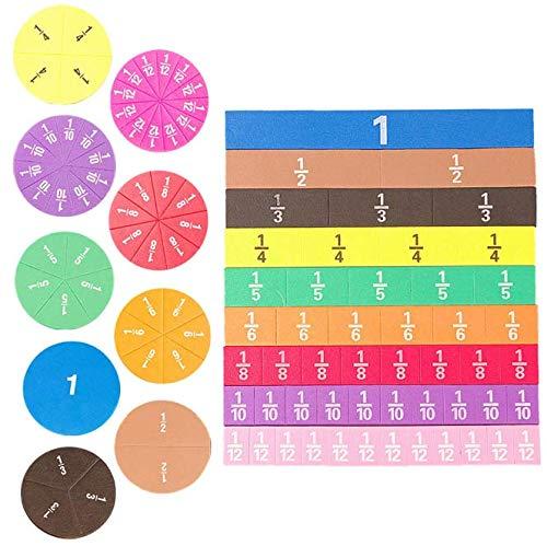 Kerta Pieza magnética de puntuación de matemáticas, juego de piezas cuadradas de 9 colores, 102 unidades de algoritmo de matemáticas de escuela primaria (51 disco + 51 pieza cuadrada)