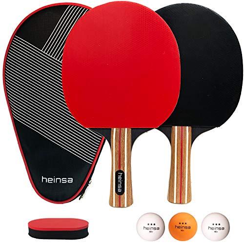 heinsa Premium Tischtennisschlaeger Set - 2 Tischtennisschläger Set Profi mit Schläger Hülle, Tischtennisbällen (3 Sterne) und Pflegeschwamm