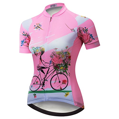 Weimostar Radtrikot Frauen Mountain Bike Trikot Shirts Kurzarm Rennrad Kleidung MTB Tops Sommer Sommer Kleidung Reiten Pink Größe L