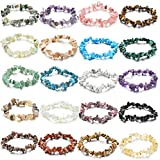 Jewdreamer 20Pcs Natural Gemstone Bracelets Chakra Crystal Healing Irregular Chips Beads Stretch Bracelets for Women Align Chakras/Conquer Fear/Increase Communication Reiki