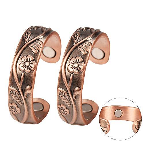 YINOX (2er-Pack) 99,9% reines Kupfer Ringe Sets für Damen Frauen Frauen Antik Blumen Design Einstellbare Gesundheit mit jeweils 3 Magneten