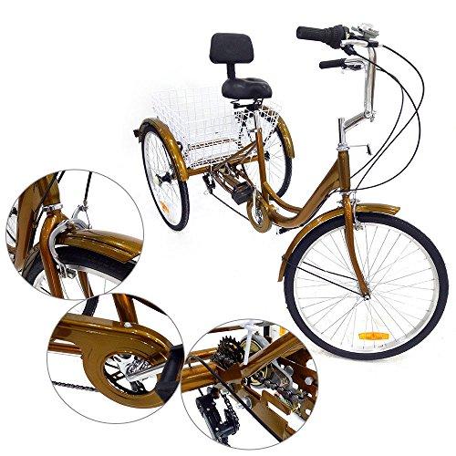 triciclo para adultos 6speed 24 3 Cilindro de personas mayores Shopping bicicleta con cesta Rojo