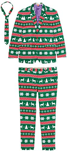 Opposuits Christmas Suits for Men – Festive Green – Ugly Xmas Sweater Costumes Include Jacket...