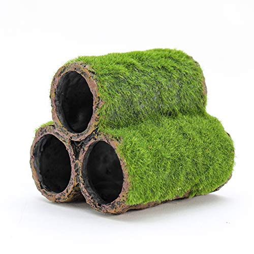 Penn-Plax Hideaway Pipes Aquarium Decoration Realistic Look with Green Moss Like Texture | Fun for Fish and adds a to The Tank, Large (RR1096)