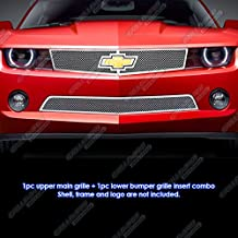 APS Compatible with 2010-2013 Chevy Camaro LT LS RS V6 Stainless Steel Mesh Grille Grill Combo