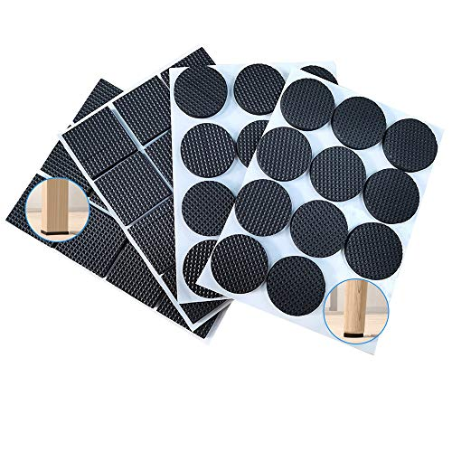Furniture Feet Pads 48 Pcs, Non Slip Rubber Furniture Pads, Wood Floor Protector Pads for Furniture Feet, Self Adhesive Pads for Table Chair Leg Protectors Ideal Bed Sofa Legs Anti-Slip Pad