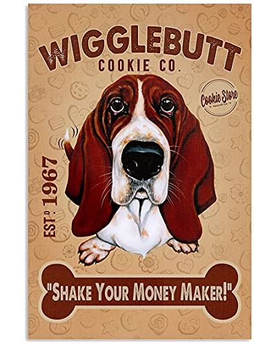 SIGNCHAT Basset Hound Wigglebutt Cookie For Home Garden Poster Plate Decor Gallery Tin Sign 20,3 x 30,5 cm