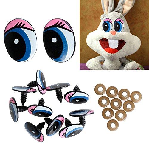 5 Paar (10 Stück) ovale blaue Sicherheitsaugen aus Kunststoff für Puppen, Augen-DIY, 24 x 18 mm