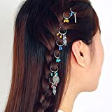 Unicra Ancient coins Hair Ring Set Leaf Cross Hair Clip Rings...