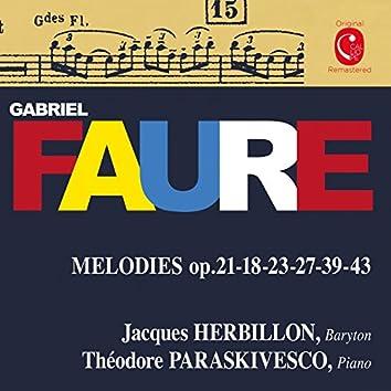 Fauré: Mélodies, Op. 18, 21, 23, 27, 39 & 43