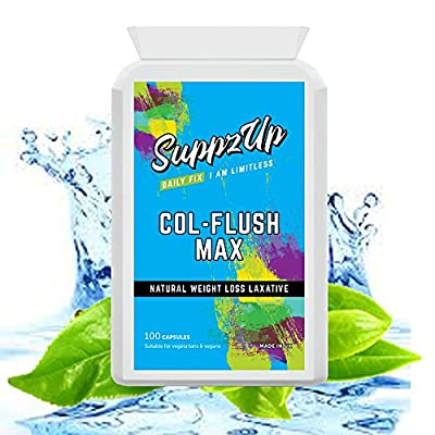 Suppzup Col-Flush Max 100 Veg Capsules - Natural Laxative Weight Loss - Gentle Colon Cleanser Natural Remedy for Constipation Relief with Cascara Segrada, Dandelion Root, Fennel, Cayenne & More