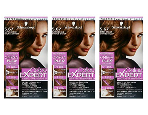 3x Schwarzkopf Color Expert Intensiv-Pflege Color-Creme 5.67 Bronze Braun 3er Pack