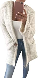 Womens Soft Knit Cardigan,Solid Hooded Coat Winter Warm Overcoat with Pocket