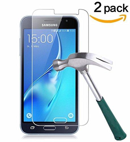 [2 Stück] CÄSAR-GLAS Panzerglas Schutzglas für Samsung Galaxy J3 2016, Anti-Kratzen, Anti-Öl, Anti-Bläschen, 9H Echt Glas Panzerfolie Schutzfolie