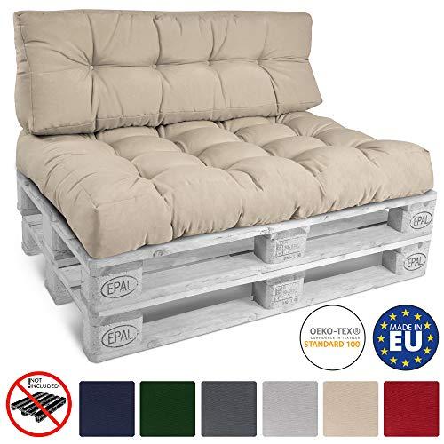 Beautissu Cojín Palet, sofá-Palet y europalet Eco Style - Cojín de Asiento para europalet 120x80x15 cm - Color: Natural - Cojín: Asiento