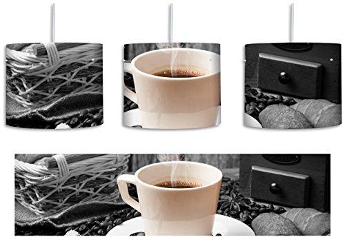 frisch aufgebrühter Kaffee schwarz/weiß inkl. Lampenfassung E27, Lampe mit Motivdruck, tolle Deckenlampe, Hängelampe, Pendelleuchte - Durchmesser 30cm - Dekoration mit Licht ideal für Wohnzimmer, Kinderzimmer, Schlafzimmer