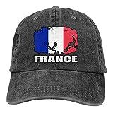 LLeaf Drapeau de la France Football Joueur de Rugby Hommes et Femmes Casquettes de Baseball réglables Denim Jeanet Casquette Unie