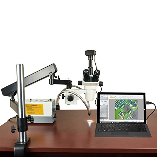 OMAX 2X-270X USB3 18MP Simal-Focal Zoom Stereo Microscope on Articulating Arm+150W Dual Fiber Light