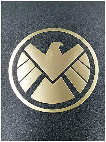Wallner 18K Gold Plated 2 pcs Metal Adhesive Marvel Agents of Shield Badge Chrome Decal Logo Vinyl Sticker Cellphone Decal Stickers (Gold)