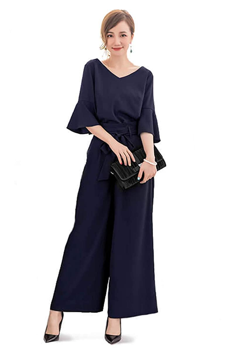 もしトランクライブラリパンチ[YOUHA] パーティードレス パンツドレス セットアップ パンツスーツ フォーマルドレス 結婚式 二次会 ウエストリボン ワイドパンツ ツーピース 大きいサイズ