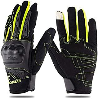 Alician Motorcycle Riding Gloves Anti-Slip Anti-Fall Racing Knight Gloves Touchscreen Safe Gloves Green L
