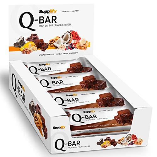 Protein Riegel Lowcarb & Low Fat Chocolate Brownie – Whey Eiweißriegel glutenfrei ohne Zuckerzusatz 12 x 60g Q-Bar Proteinriegel Low Carb