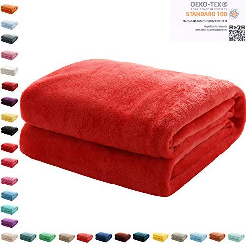 Mixibaby Kuscheldecke Flauschige extra weich & warm Wohndecke Flanell Fleecedecke, Falten beständig/Anti-verfärben als Sofadecke oder Bettüberwurf, Maße Decke Sarah:150 cm x 200 cm, Farbe:Rot