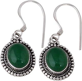 Pendientes ovalados de ónix verde, pendientes colgantes, 925 pendientes de plata esterlina para regalo de mujer Sterling Silver Drop Earrings
