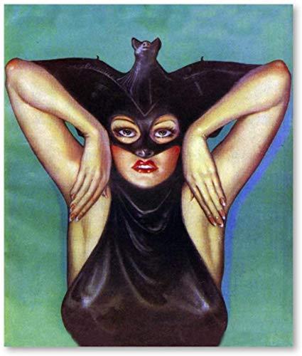 Pintura De La Lona 50x70cm Sin Marco Pster de ilustracin vintage de nia murcilago disfraz de vampiro imprime imagen decoracin de habitacin de nias