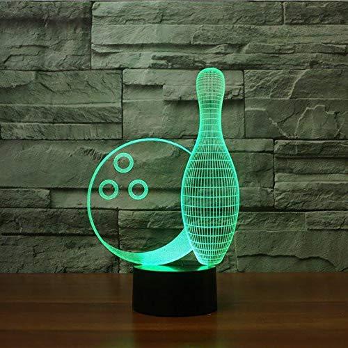 (Nur 1) Fernbedienung Bowlingkugel 3D-Licht LED-Tischlampe Optische Täuschung Bulbing Nachtlicht 7 Farben Stimmungsänderung Lampe USB-Lampe