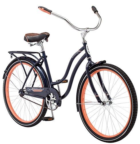 Schwinn Baywood Cruiser Bike, Featuring Steel Step-Through Frame and Single-Speed Drivetrain with Full Wrap Fenders, 24-Inch Wheels, Navy Blue
